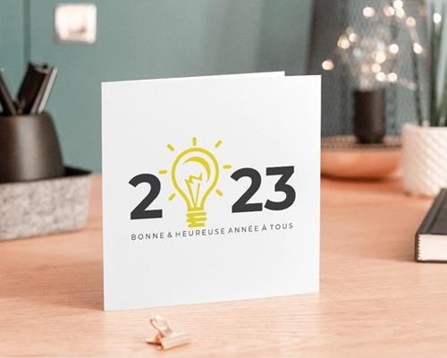 Carte de voeux avec logo d'entreprise Nouveaux défis gratuit
