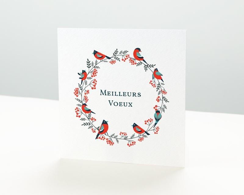 Carte de Voeux Entreprise Couronne de Noël