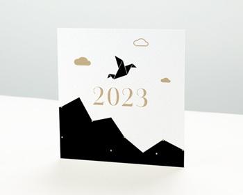 Carte de voeux entreprise - Origami colombe bleue - 0