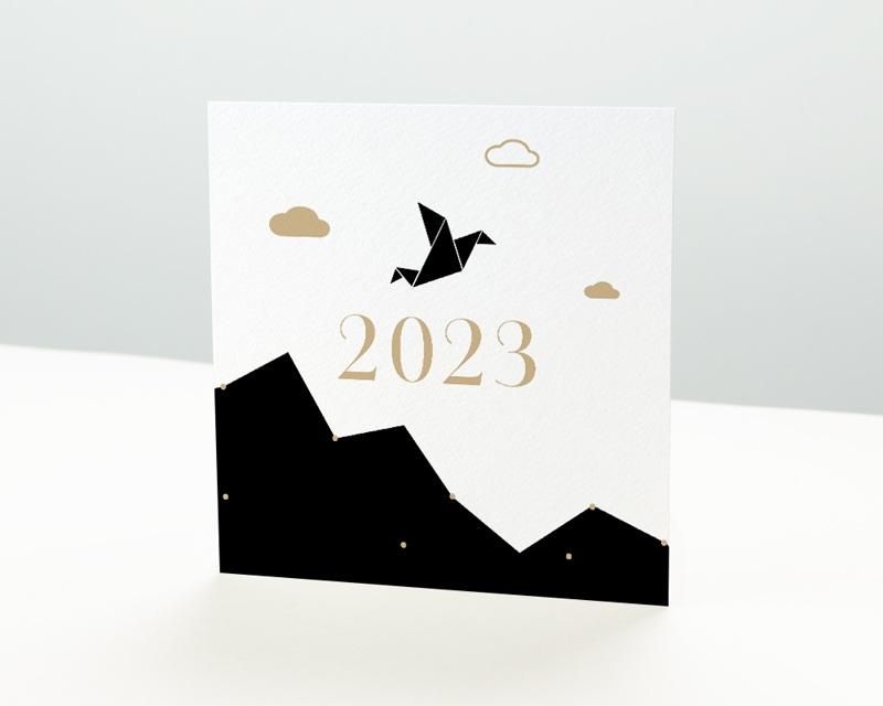 Carte de Voeux Entreprise Origami colombe bleue