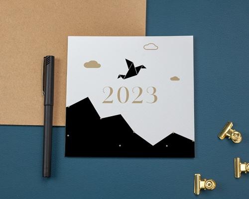 Carte de Voeux Entreprise Origami colombe bleue gratuit