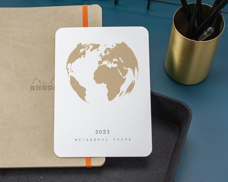 Carte de Voeux Entreprise Terre dorée gratuit