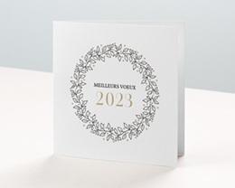 Carte de Voeux Entreprise Couronne Noel dorée