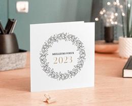 Carte de Voeux Entreprise Couronne Noel dorée gratuit
