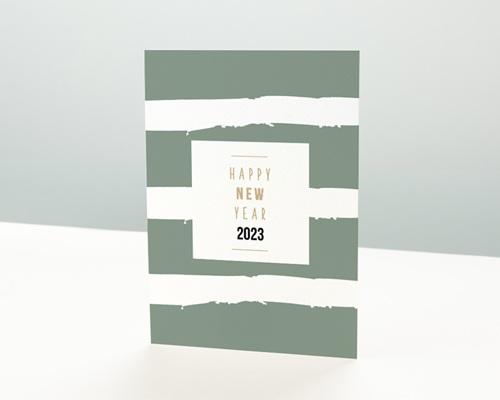 Carte de Voeux Entreprise Happy New Year avec Dorure
