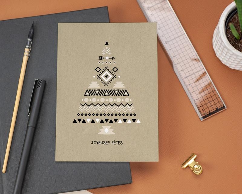 Carte de Voeux Entreprise Sapin ethnique gratuit