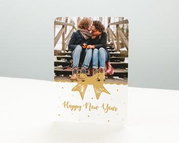Carte de vœux particulier - Joli Noeud Doré - 0