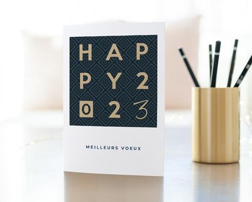 Carte de Voeux Entreprise Happy Or gratuit