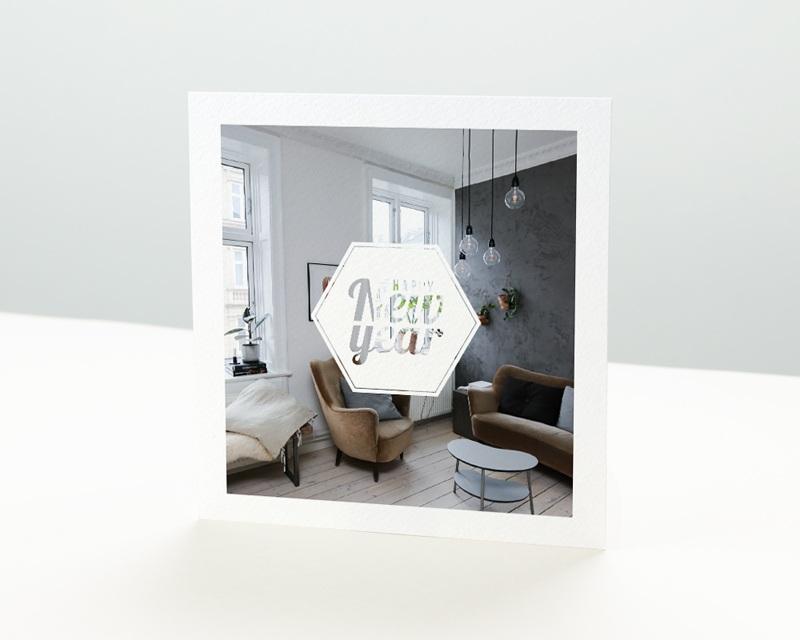 Carte de Voeux Entreprise Hexagone White