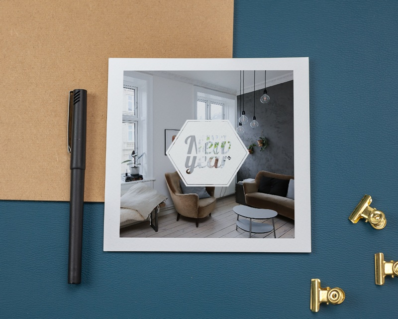 Carte de Voeux Entreprise Hexagone White gratuit