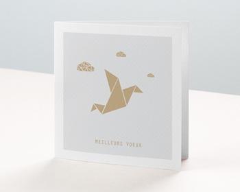 Carte de Voeux Professionnelle Origami colombe dorée