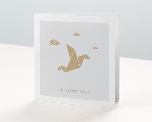 Carte de voeux entreprise - Origami colombe dorée