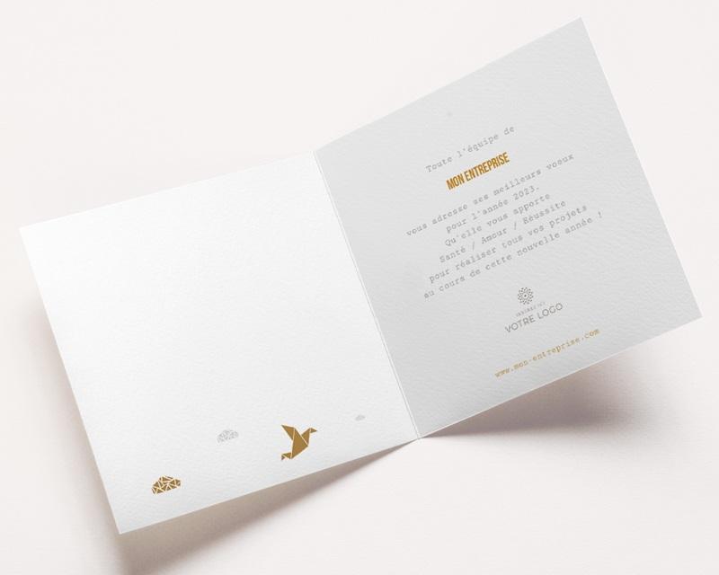 Carte de Voeux Entreprise Origami colombe dorée pas cher