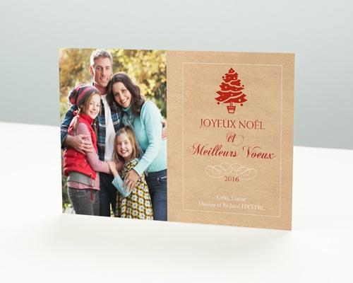 Carte de vœux particulier - Empreinte noël