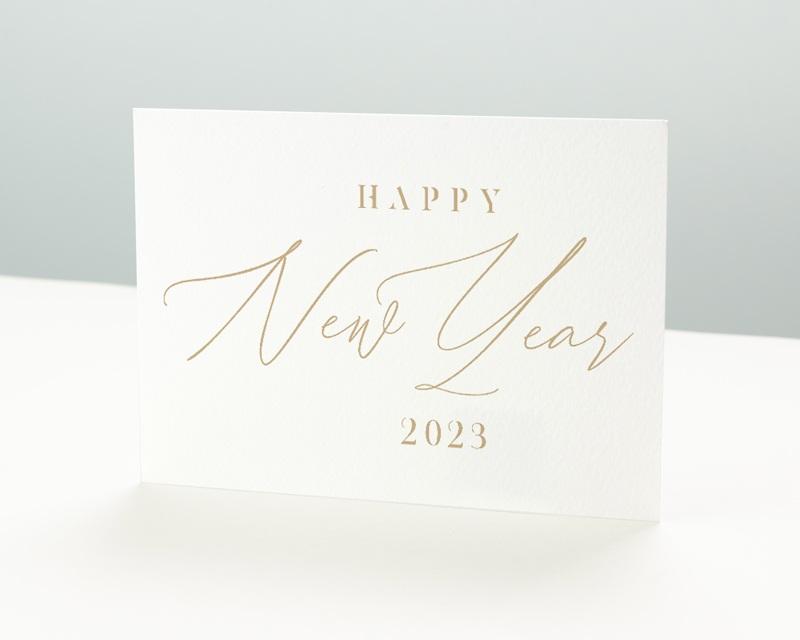 Carte de Voeux Entreprise New Year Doré