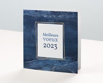Carte de Voeux Professionnelle 2021 Marbre bleu Doré