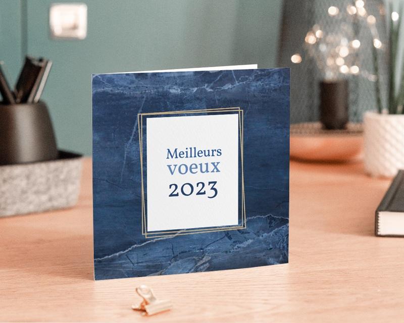 Carte de Voeux Entreprise Marbre bleu Doré gratuit