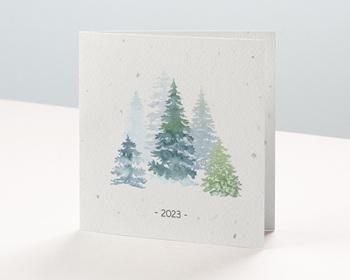 Carte de Voeux Pro Aquarelle paysage hiver