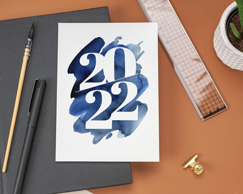 Carte de voeux avec logo d'entreprise 20 sur 20 Simple gratuit