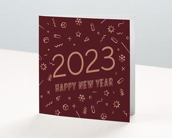 Carte de Voeux Professionnelle 2021 Reflet cuivre, Carré double, 14 cm x 14 cm