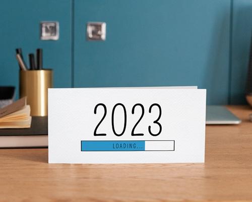 Carte de Voeux Entreprise Loading Bleu, Rectangle 2 volets, 10 x 21 gratuit