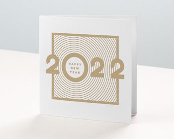 Carte de Voeux Professionnelle Sillons dorés, Carré double - 14 x 14