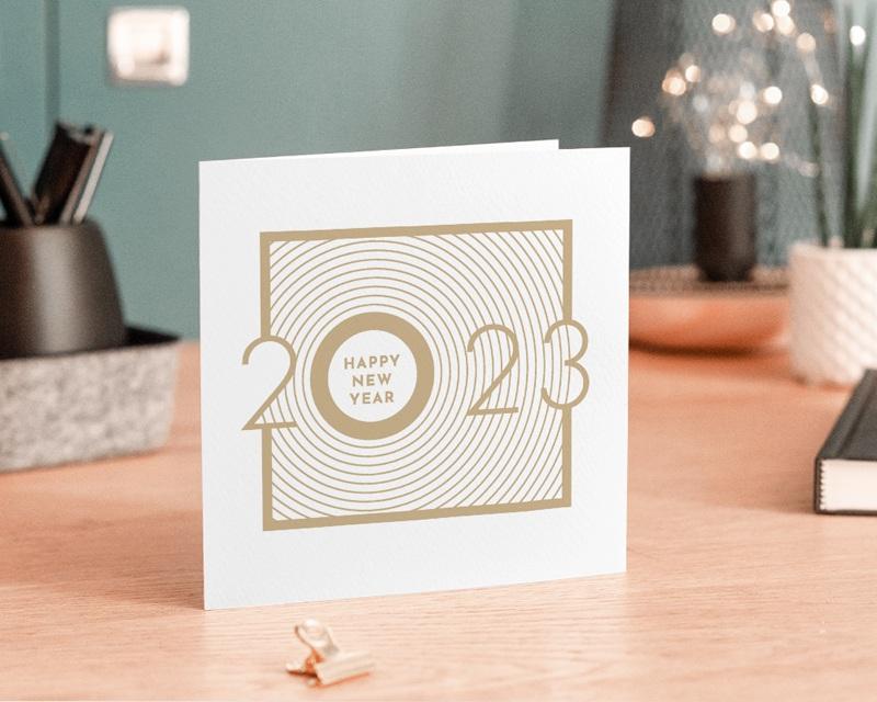 Carte de Voeux Entreprise Sillons dorés, Carré double - 14 x 14 gratuit