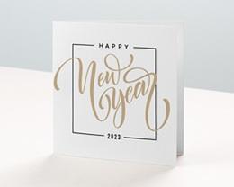 Carte de Voeux Entreprise Happy New year Doré, 2 volets carrés - 14 x 14
