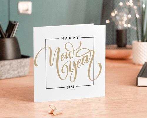 Carte de Voeux Entreprise Happy New year Doré, 2 volets carrés - 14 x 14 gratuit
