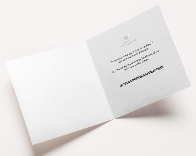 Carte de Voeux Entreprise Typo noire cuivrée, Vernis relief, carré 14 x 14  pas cher