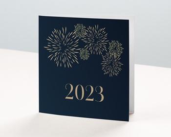 Carte de Voeux Entreprise 2021 Double Carré, 14x14, Feux d'artifice Doré