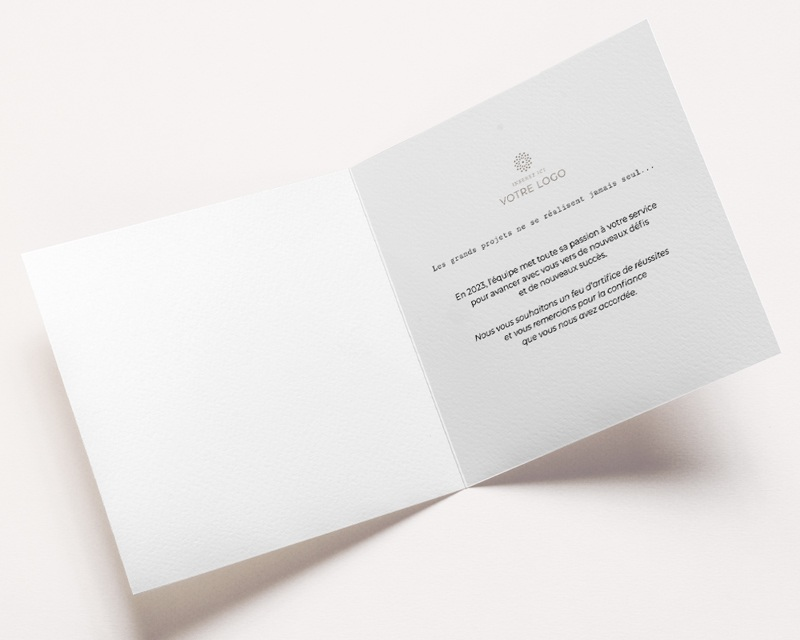 Carte de Voeux Entreprise Double Carré, 14x14, Feux d'artifice Doré pas cher