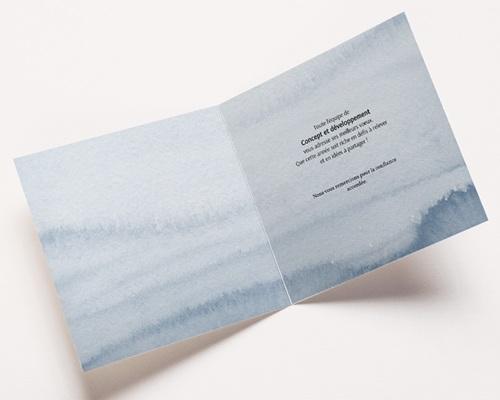 Carte de Voeux Entreprise CItation, fond aquarelle, carré double pas cher