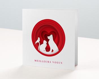 Carte de Voeux Entreprise Animaux blancs, Coeurs Rouges vernis personnalisable