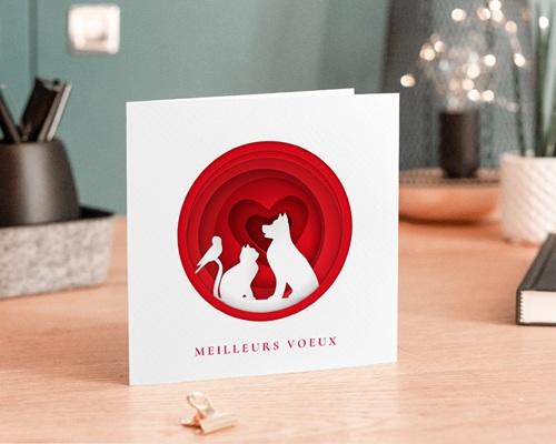 Carte de Voeux Entreprise Animaux blancs, Coeurs Rouges vernis gratuit