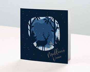 Carte de Voeux Professionnelle Cerf dans la nuit de Noel, Neige dorée