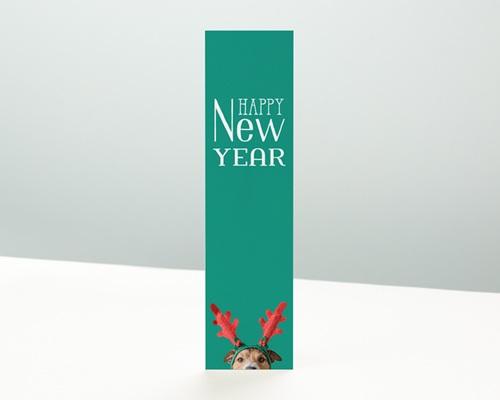 Carte de Voeux Entreprise Signet New Year, Chien Drôle et bois de renne