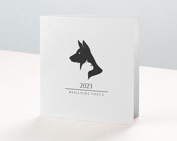 Carte de Voeux Entreprise 2021 Logo Chien Chat, Noir & Blanc, Relief