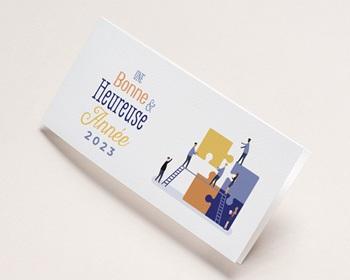 Carte de Voeux Professionnelle Constructeur immobilier, Maisons modulables, Vernis