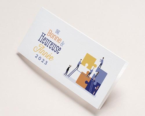 Carte de Voeux Entreprise Constructeur immobilier, Maisons modulables, Vernis