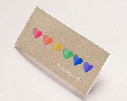 Carte de Voeux Entreprise Coeurs Arc-en-Ciel, vernis 3D