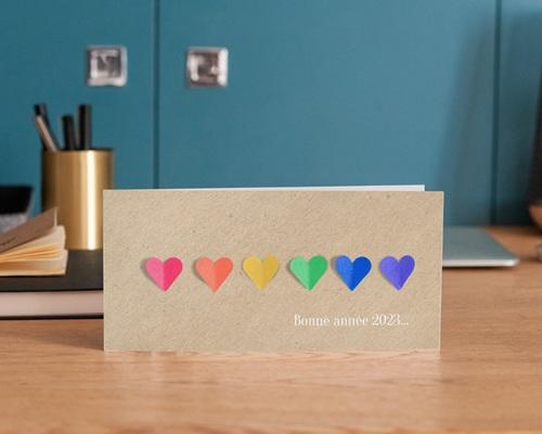 Carte de Voeux Entreprise Coeurs Arc-en-Ciel, vernis 3D gratuit