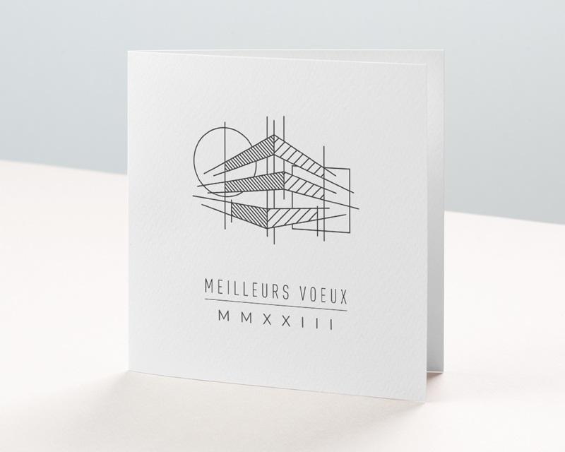 Carte de Voeux Entreprise Croquis Architecte, Traits, Carré, Cercle