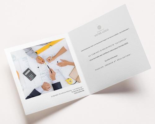 Carte de Voeux Entreprise Croquis Architecte, Traits, Carré, Cercle pas cher