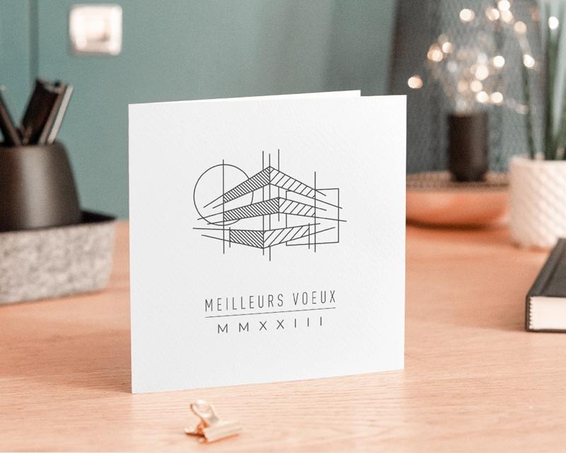 Carte de Voeux Entreprise Croquis Architecte, Traits, Carré, Cercle gratuit