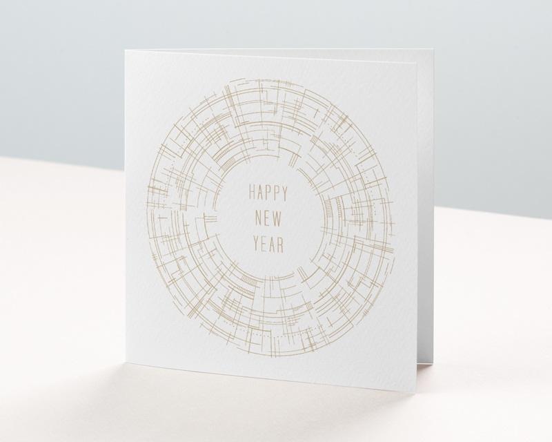 Carte de Voeux Entreprise Cercle vertueux, Doré, Happy New year