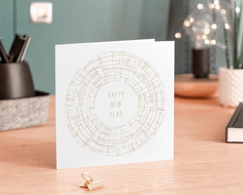 Carte de Voeux Entreprise Cercle vertueux, Doré, Happy New year gratuit