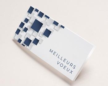 Carte de Voeux Entreprise 2021 Mur relief, Carrés colorisables, Vernis 3D