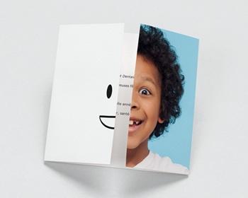 Carte de Voeux Entreprise Orthodontie, triptyque du sourire personnalisable