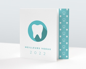 Carte de Voeux Professionnelle 2021 Soins dentaires, Calendrier, 3 volets